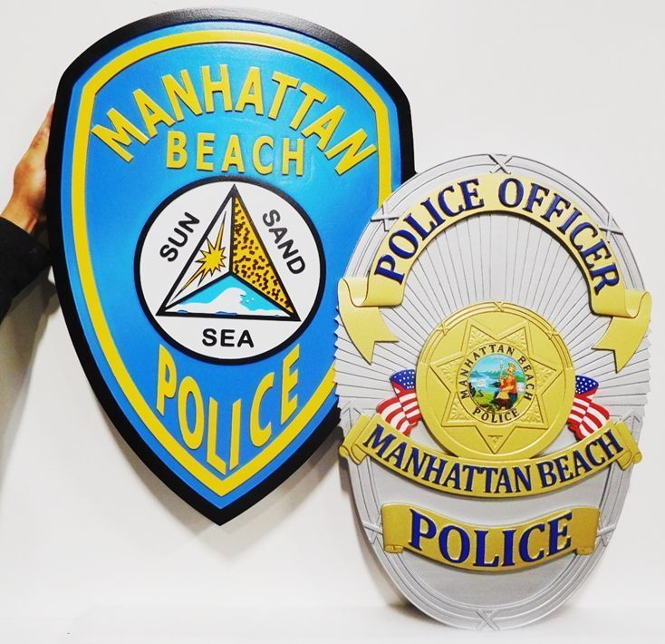 X33694 - Carved 3-D HDU Plaque featuring the Badge and the Shoulder Patch of thePolice Department of Manhattan Beach, California