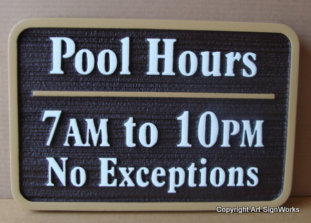 GB16340 - Carved Swimming Pool Hours Sign