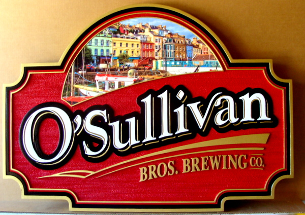 RB27556 -  Carved and Sandblasted O'Sullivan Brewing Company Entrance Sign