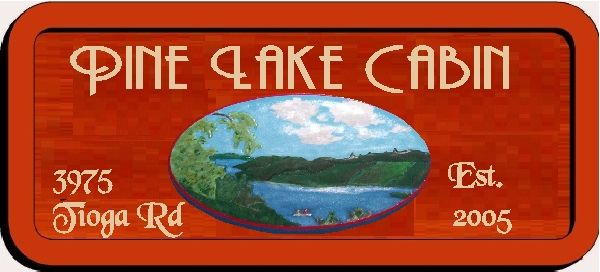 M22326 - Design of Carved Redwood Address Sign for Pine Lake Cabin
