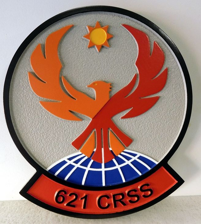 V31632A- Carved Wall Plaque of the Crest for the USAF 621 CRSS
