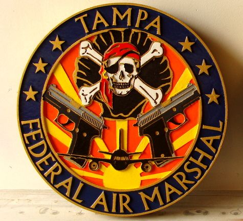 AP-2480 - Carved Plaque of the Seal of the Federal Air Marshal Division (Tampa), Artist Painted
