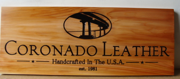 SA28032 - Cedar Wood Sign for Leather Goods Manufacturer and Store Showing Coronado Bridge in California