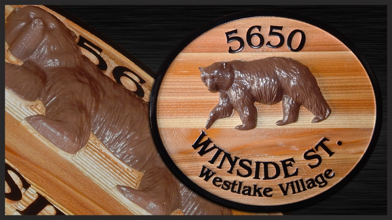 M22854 - Carved Cedar Wood Address Sign with 3-D Carved Bear for Westlake Village