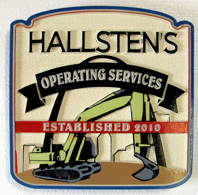 """SA28710 - Carved and Sandblasted """"Hallsten's Operating Services""""  Construction Company Sign, weith Excavator as Artwork"""