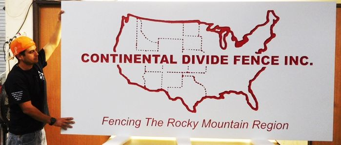 """S28105 - Large Carved Engraved  HDU Commercial Sign for  """"Continental Divide Fence, Inc."""", 2.5-D Artist-Painted"""