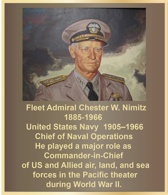 ZP-1040 - Carved Memorial Photo Plaque Honoring Admiral Chester Nimitz, Painted Brass and Bronze