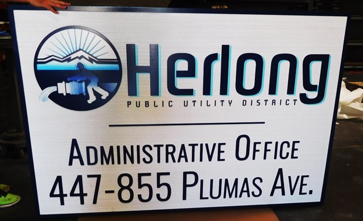"""S28034- Large Carved and Sandblasted Wood Grain HDU Commercial Sign made for the """"Herlong Public Utility District"""" , 2.5-D Artist-Painted"""