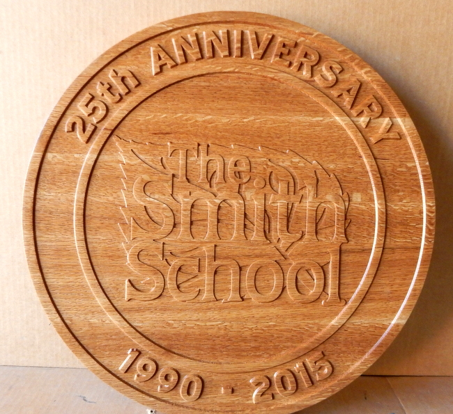 Y34726 - Carved Cedar Wall Plaque for the Smith School, 25th Anniversary