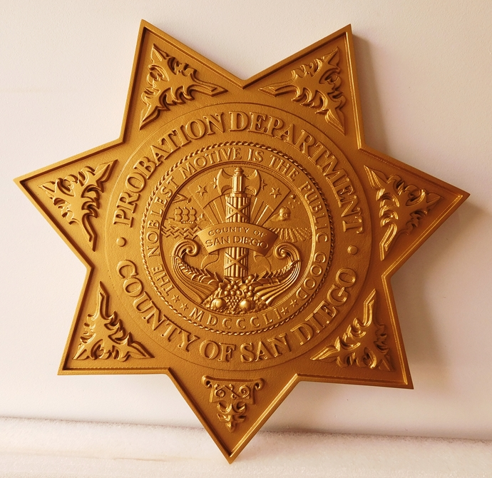 X33477 -3-D Carved HDU Star Badge Wall Plaque for the San Diego County Probation Department.