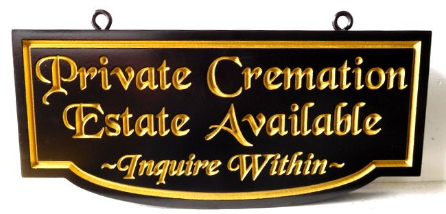 """GC16415 - Engraved High-Density-Urethane (HDU)  """"Private Cremation Estate Available """"  Sign for a Cemetery"""
