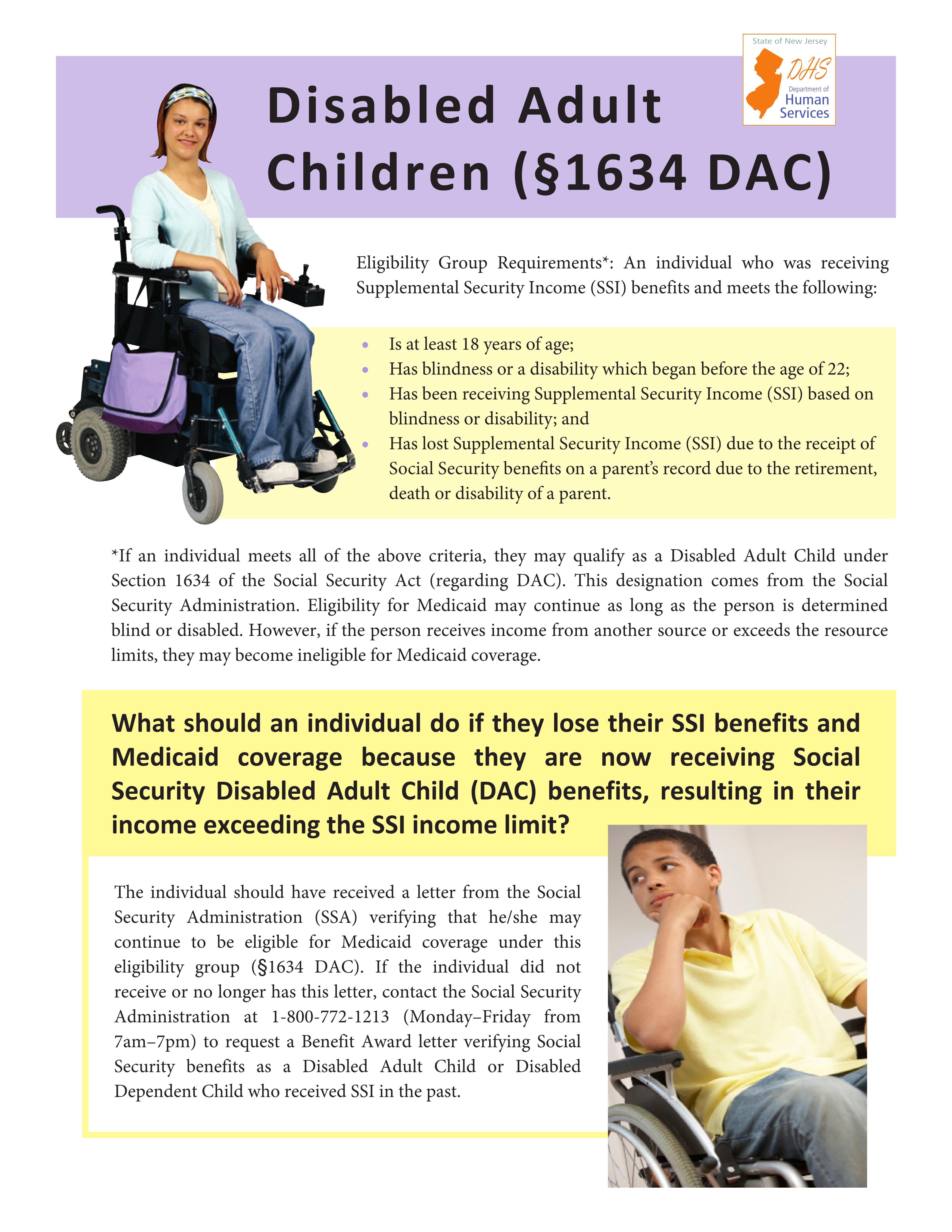 Section 1634 of the Social Security Act - Disabled Adult Child (DAC)