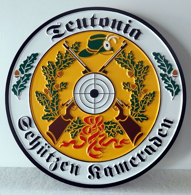 N23372  - Carved 2.5-D  Wall Plaque featuring a Germanic Family Coat-of-Arms, a Wappen,
