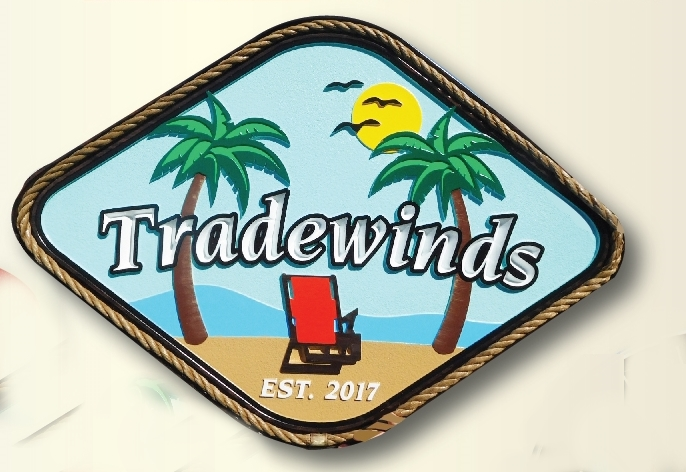 "L21027- Carved Beach House Sign ""Tradewinds"" with, Chairs, Palm Tree and Ocean Sun and Name Plate"