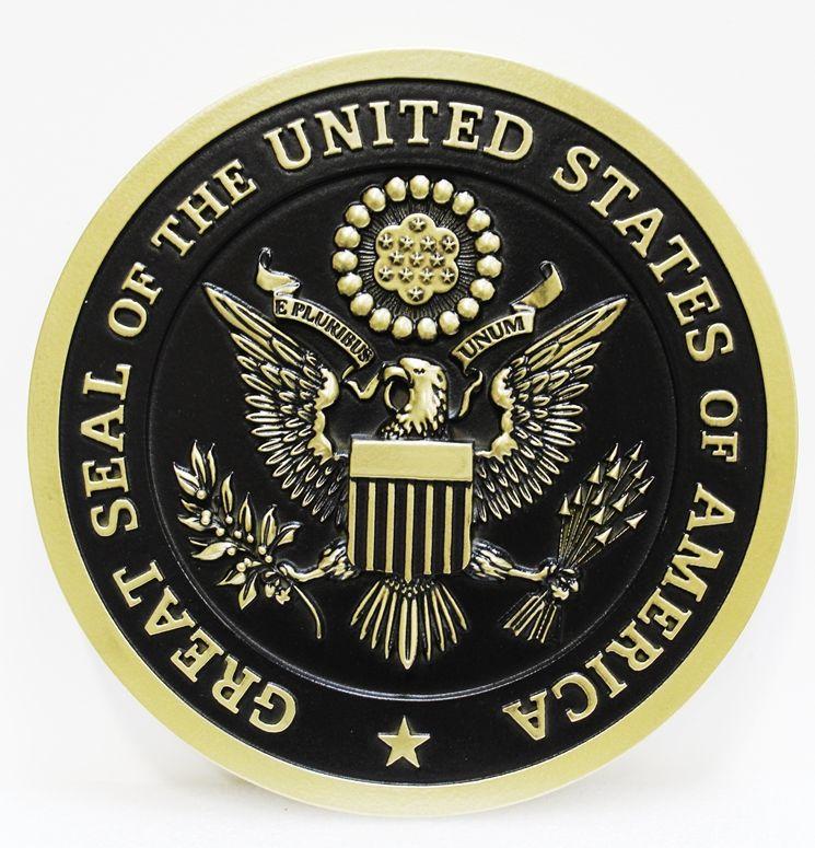 AP-1051 - Carved 3-D Brass-plated Wall Plaque of the Great Seal of the United States of America, with Hand-Rubbed Black Paint