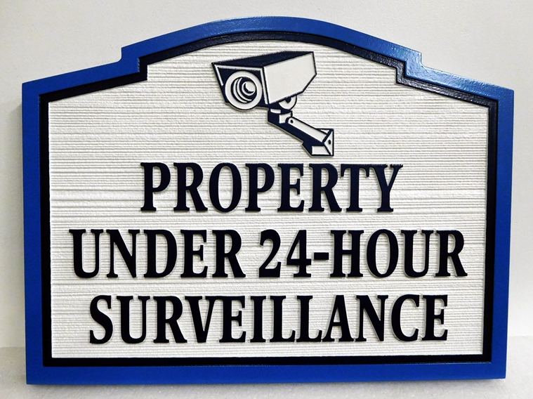 I18971- Carved Private Property & Camera Surveillance Sign with Picture of Camera and  Wood-Grain Sandblasted Background