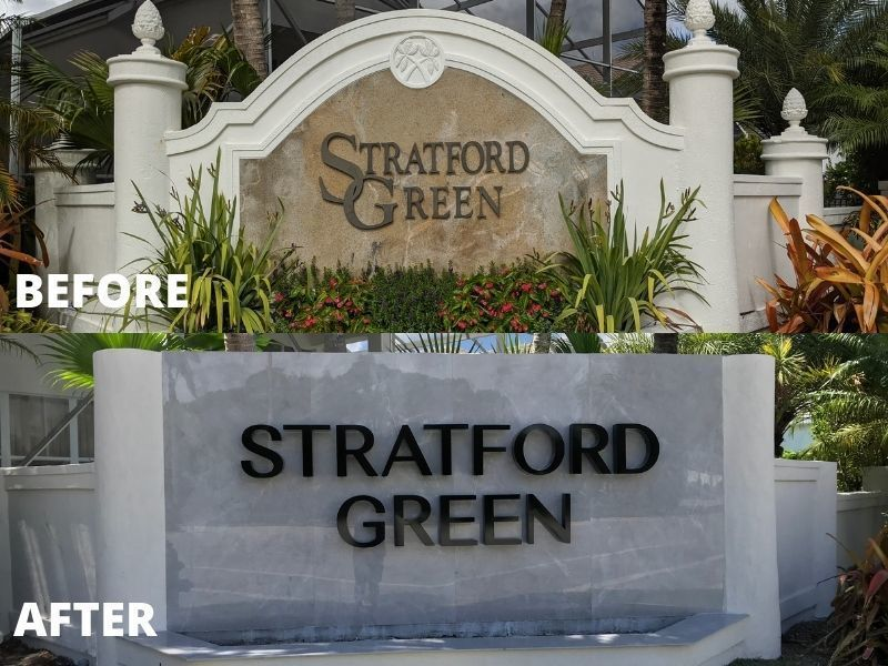 Before & After Community Entrance Sign Refurbishment in Boca Raton, FL - by Sign Partners