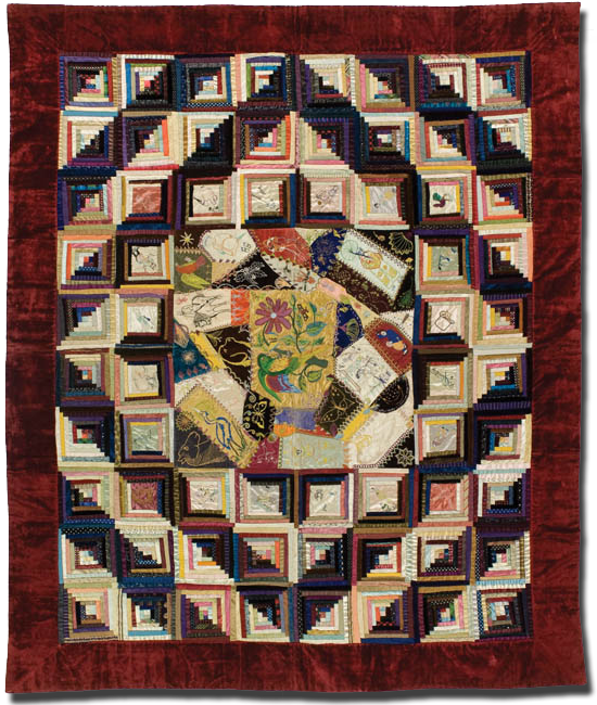 Crazy/Log Cabin Quilt, possibly made by Elizabeth Shelton, possibly made in Coeur d'Alene, Idaho, United States, circa 1880-1900, 77 x 63 in, IQSCM 1997.007.0802