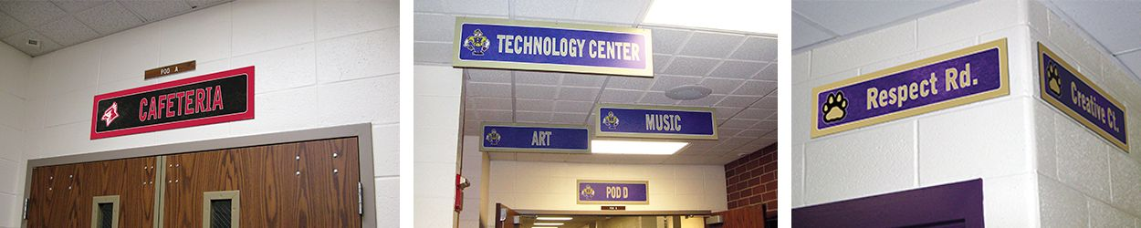 3 pictures school signs, hallway signs, room signs, custom signs in many colors with logos, hanging signs