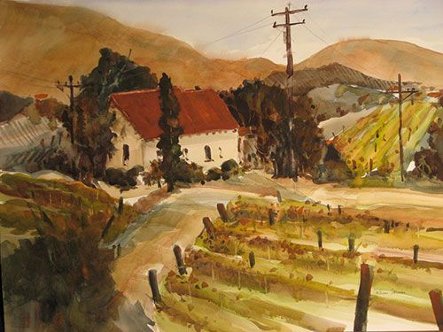 """Laetitia Winery, After the Harvest, watercolor, 22"""" x 30"""""""