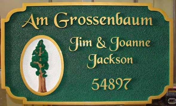 M1281 - Welcome/Name/Address Plaque for Mountain Cabin, with Sequoia Tree (Gallery 21)