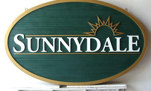 "I18140 - Carved and Sandblasted HDU Property Name Sign, ""Sunnydale"""
