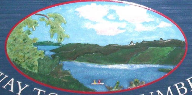 M22346 - Close-Up of Sign with Boaters in River , Green Foothills