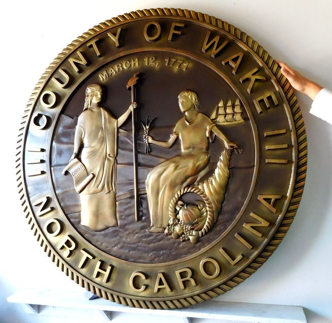 M7502 - Bronze  Wall Plaque for Wake, County with Great Seal of North Carolina