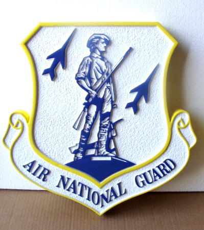 LP-1800 - Carved Shield Plaque of the Crest of the Air National Guard, Artist Painted