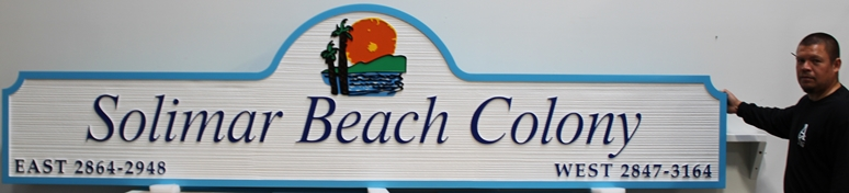 K20310 - Carved and Sandblasted Wood Grain HDU Entrance sign for the Solimar Beach Colony, 2.5-D Artist-Painted wirh Setting Sun over Mountains and Beach as Artwork