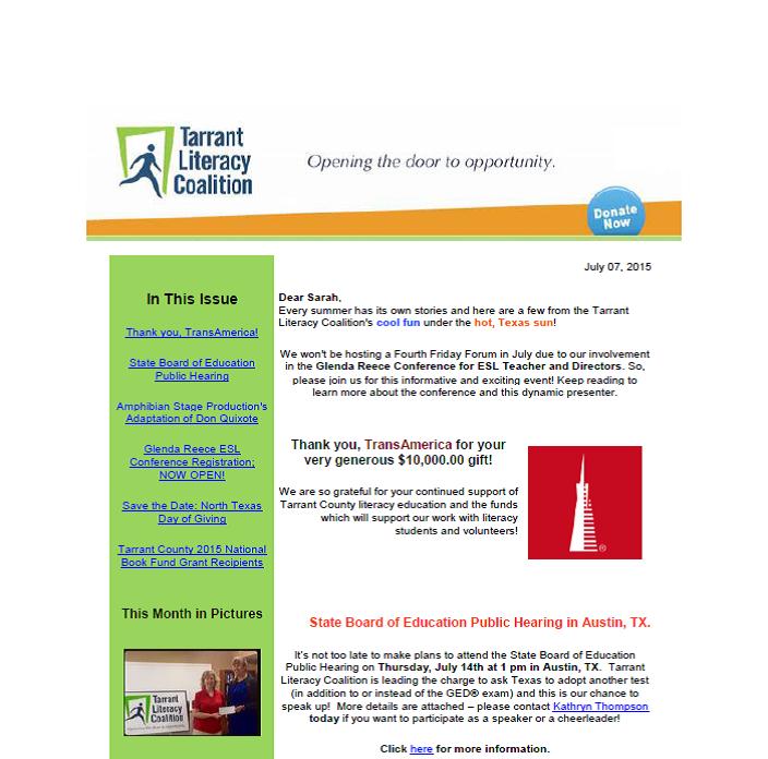 July 2015 Newsletter