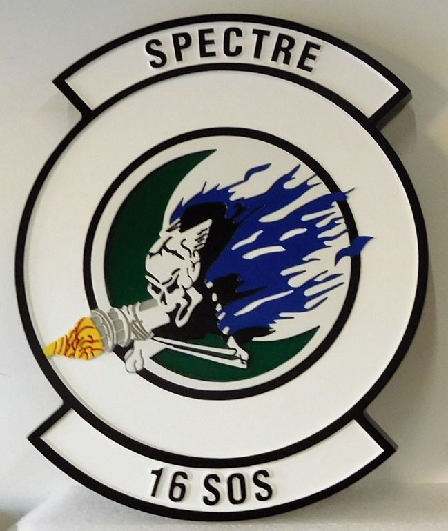 """LP-3680 - Carved Round Plaque of the Crest of the 16th Special Operations Squadron """"Spectre"""", Artist Painted"""