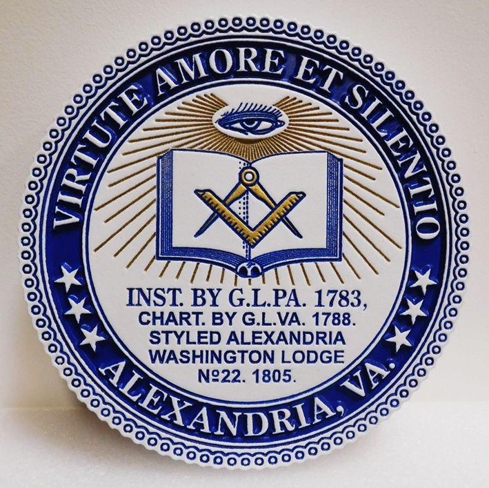 UP-2045 - Carved Plaque for Alexandria WashingtonMason Lodge,2.5-D engraved relief  Artist-painted