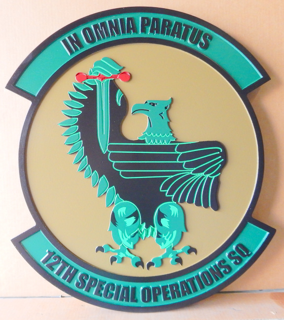 "LP-3940 - Carved Round Plaque of the Crest of the 12th Special Operations Squadron, ""In omnia paratus"", Artist Painted"