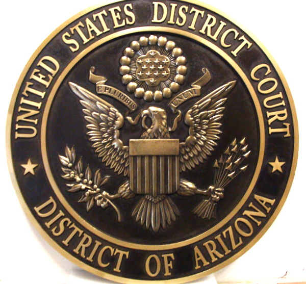 U30146 - Carved 3-D Brass Wall Plaque, US District Court, District of Arizona