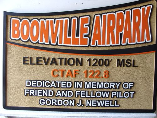 GC16635 - Carved HDU  Memorial Wall Plaque at Boonville Airpark  Honoring a Pilot, Gordon J. Newell, 2.5-D Multi-level Raised Relief, Artist-Painted