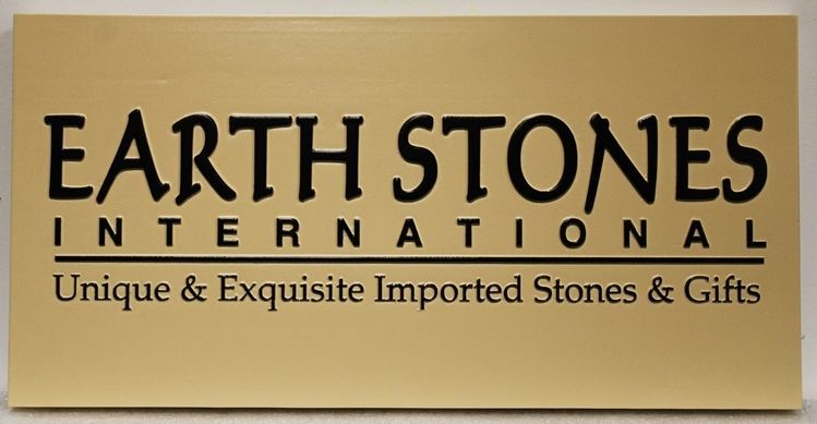 S28201 - Carved 2.5-D Raised Relief HDU  sign for Earth Stones, International