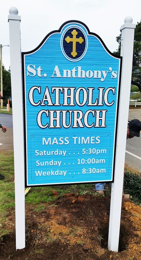 "D13113 - Carved and Sandblasted Wood Grain Sign for the ""St Anthony's Catholic Church""  Mounted Between Posts, 2.5-D with Raised  Outlined Text"