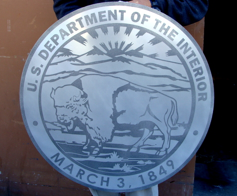 M7564 - Sandblasted Aluminum Wall Plaque of the Seal of the Department of the Interior