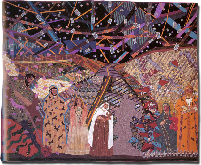 'Dashboard Saints:  In memory of Saint Christopher (Who lost his magnetism…),' made by Terrie Hancock Mangat, dated 1985, 99 x 124 in, IQSCM 1997.007.1093