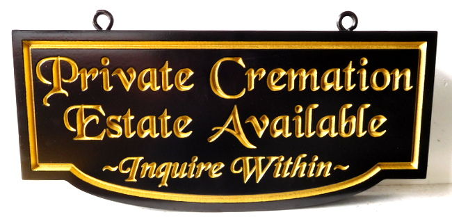 "GC16415 - Engraved High-Density-Urethane (HDU)  ""Private Cremation Estate Available ""  Sign for a Cemetery"