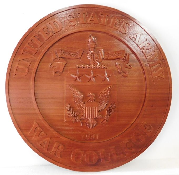 MP-1390- Carved Plaque of the  Seal of the US Army War College, Mahogany Wood