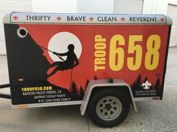 Utility trailer graphics for scout troops in Orange County CA