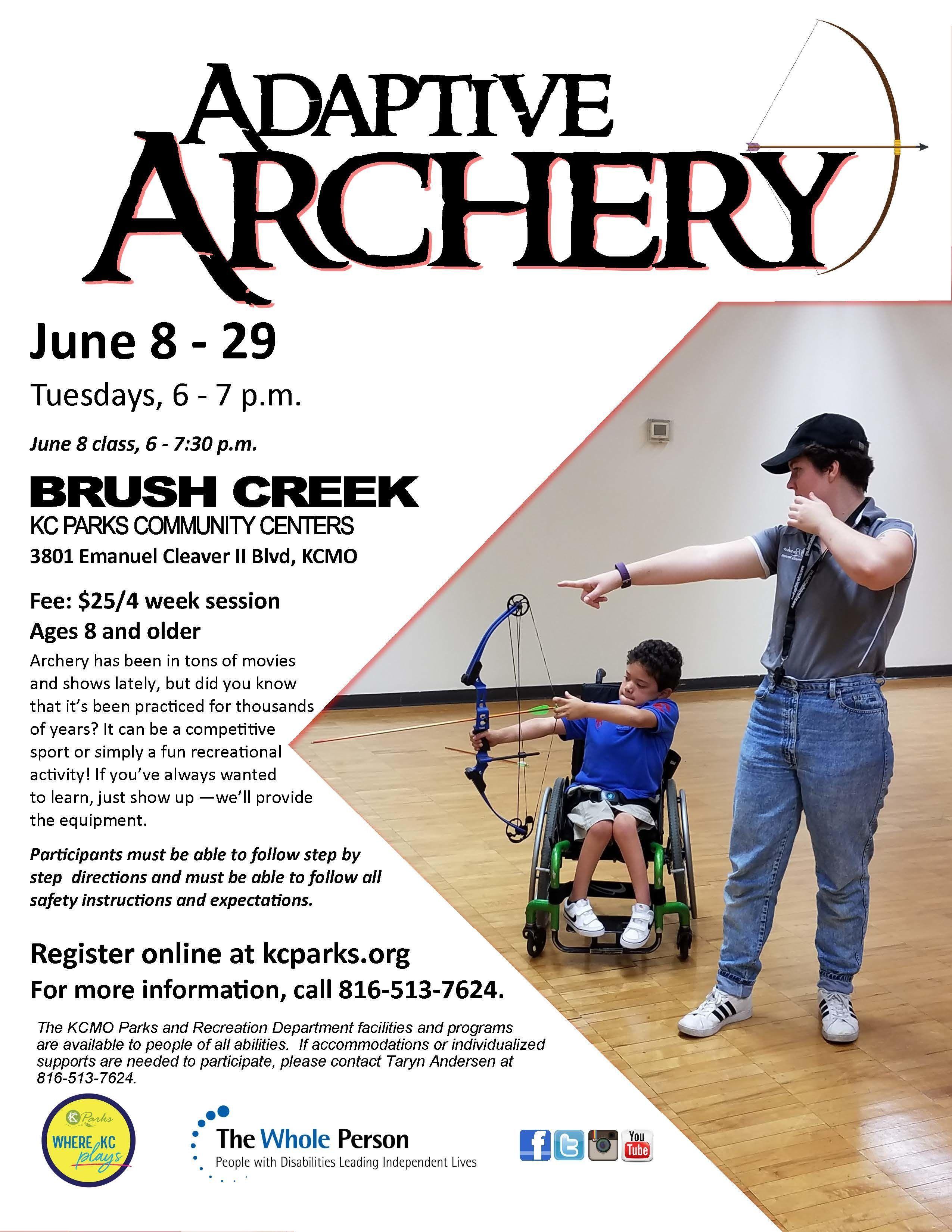 Image of flyer advertising Adaptive Archery workshop