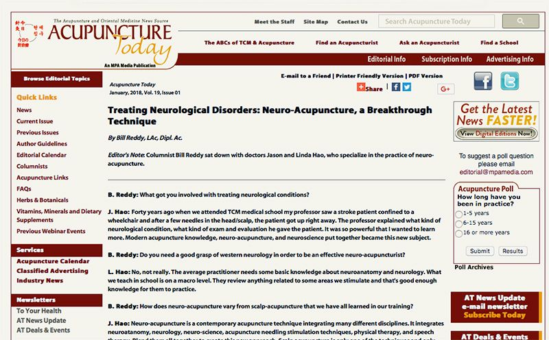 Treating Neurological Disorders: Neuro-Acupuncture, a Breakthrough Technique