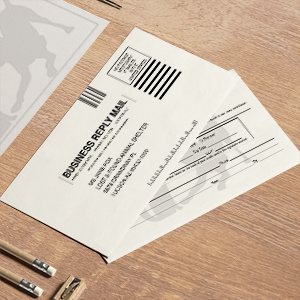 Request an estimate for printing and mailing business reply cards.
