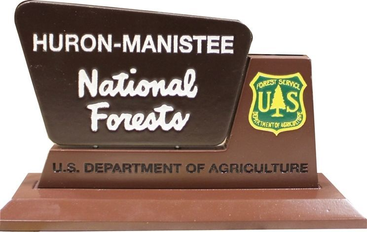 G16090 - Carved Table Top Plaque for Huron-Manistee National Forest