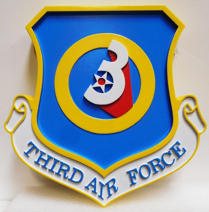 LP-1532- Carved  Plaque of the Shield Crest of the Third  Air Force, 2.5-D Artist Painted