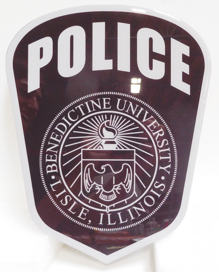 PP-2438 - Carved Plaque of the Shoulder Patch of the Benedictine University Police , 2.5-D Engraved