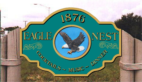 Q25120 - Design of Large Sign for Restaurant  (Cocktails, Music,  Dinner), 3-D Flying Eagle